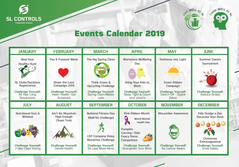 SL Controls Employee Health & Wellbeing Events Calendar